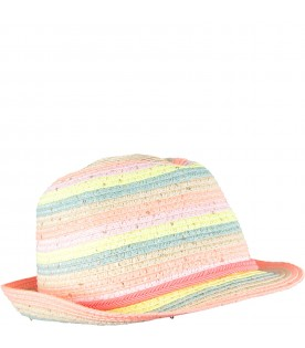 Beige girl hat with stripes
