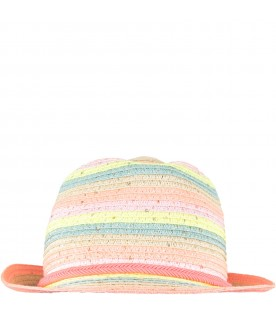 Beige hat for girl with stripes