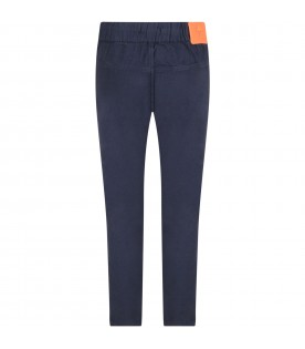 Blue pants for boy with iconic patch