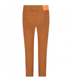 Camel pants for boy with iconic patch