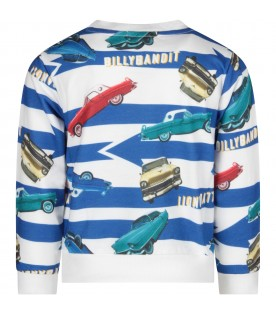 White and azure boy sweatshirt with colorful cars