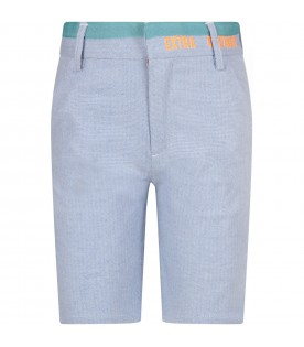 Light blue boy short with orange writing