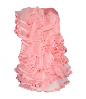 Pink girl dress with ruffles