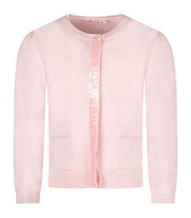Pink girl cardigan with sequined detail