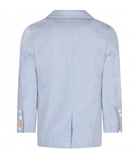 Light blue jacket for boy with writing