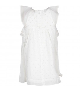 White girl dress with gold polka-dots