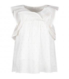 White blouse for girl with gold polka-dots