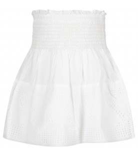 White skirt for girl with logo