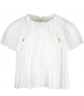 White girl blouse with pleated