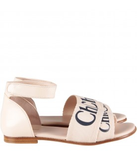 Powder pink girl sandals with logo