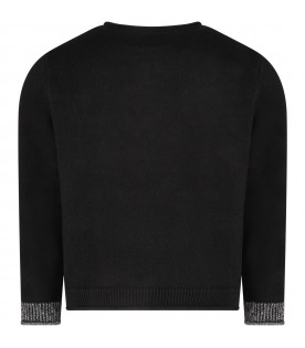 Black sweater with silver logo for girl