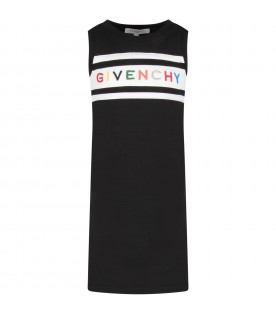 Black dress with colorful logo for girl