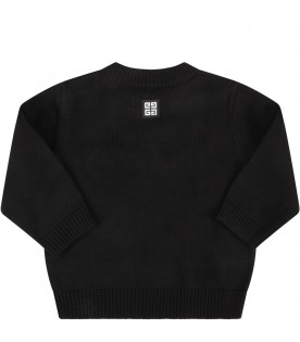 Black sweater with logo for baby boy
