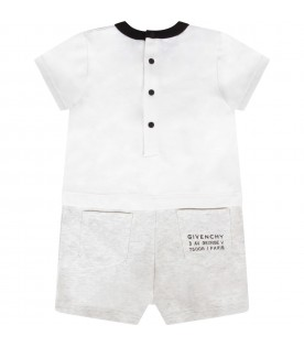 White rompers with logo for baby boy