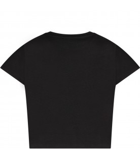 black t-shirt with colorful logo for girl