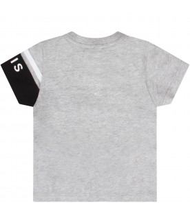 Melanged grey t-shirt with logo for baby boy