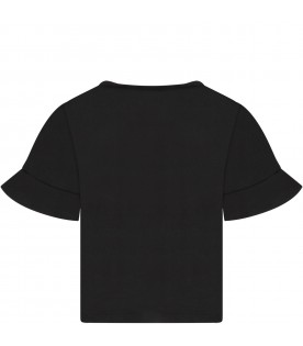 Black t-shirt with silver logo for girl