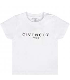 White t-shirt with black logo for baby