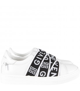 White sneaker with logo for kids
