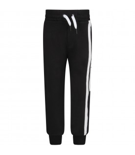Black sweatpants with logo for boy