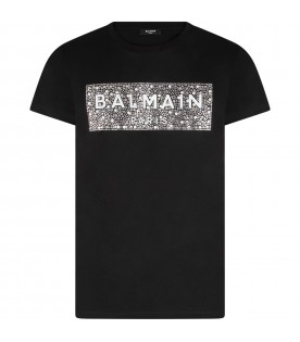 Black kids T-shirt with logo and rhinestones