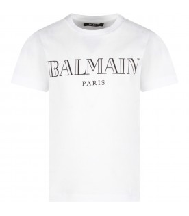 White T-shirt for kid with logo