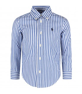 White and light blue boy shirt with iconic pony