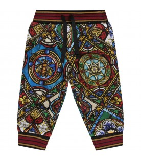 Multicolor sweatpants for baby boy with colorful print