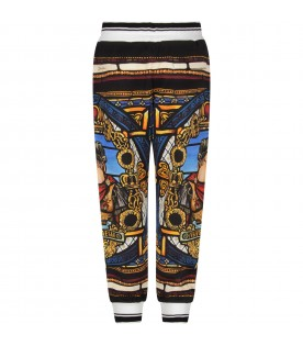 Multicolor sweatpants for boy with emperor
