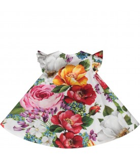 White babygirl dress with colorful flowers