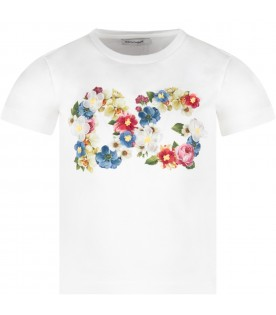 White T-shirt for girl with colorful flowers