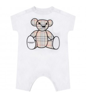 White babykids babygrow with Teddy Bear