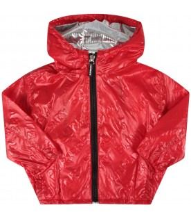 Red babykids jacket with logo