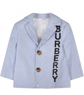 White and light blue babyboy jacket with logo