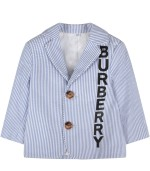 Burberry Kids White and light blue jacket for baby boy with logo