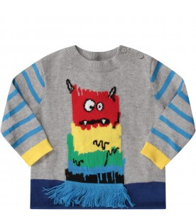 Grey babyboy sweater with monster