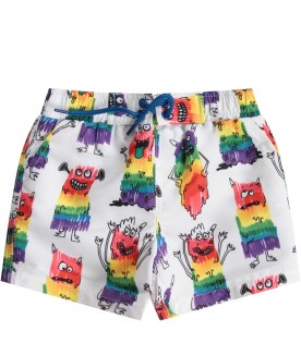 White babyboy swim short with colorful monsters