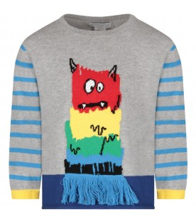 Grey boy sweater with monster