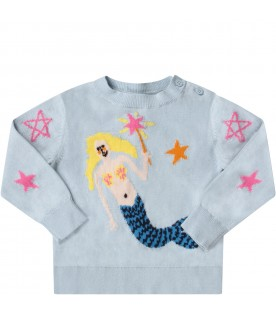 Light blue babygirl sweater with colorful mermaids