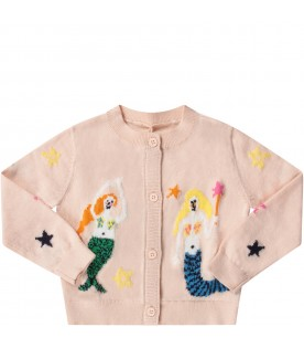 Pink babygirl cardigan with colorful mermaids