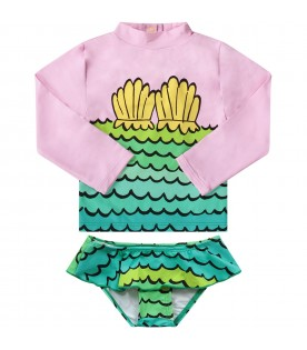 Multicolor babygirl swim set with shells l