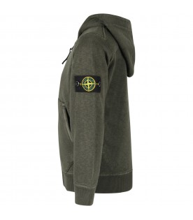 Green sweatshirt for boy with iconic patch