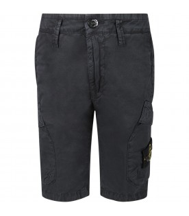 Blue boy short with iconic patch