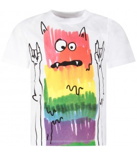 White boy T-shirt with colorful monster