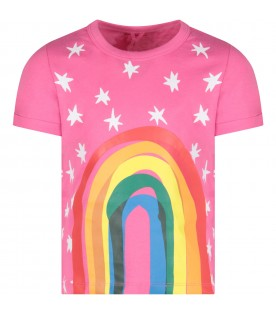 Fuchsia girl T-shirt with rainbow