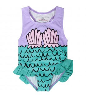 Lilac and teal green babygirl swimsuit with shells