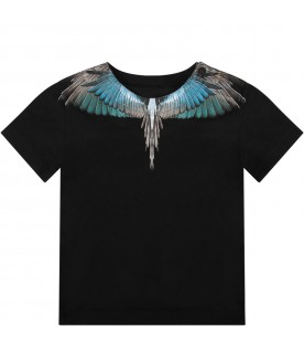 Black babyboy T-shirt with iconic wings