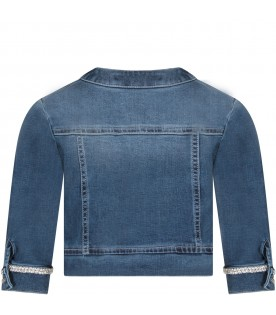 Denim girl jacket with rhinestones