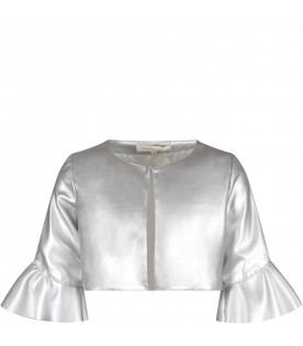 Silver jacket for girl with ruffle