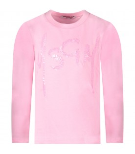 Pink girl T-shirt with sequined logo